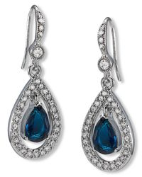 Carolee | Blue Silver-tone Pave Stone Drop Earrings | Lyst