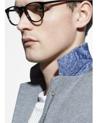 Mango Gray Cotton-Blend Piqué Blazer for men