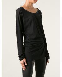Ann Demeulemeester - Black Asymmetric Draped Tshirt - Lyst