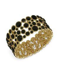 Guess | Bracelet Goldtone Black Bubble Stone Stretch Bracelet | Lyst