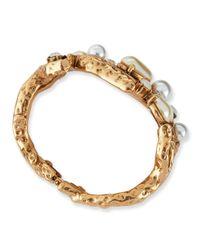 Oscar de la Renta Metallic Pearlbeaded Coral Bracelet