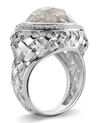 Slane - Metallic Basketwoven Crystal & Diamond Ring - Lyst