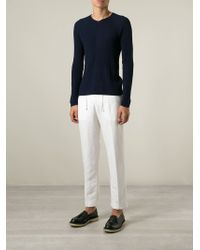 Emporio Armani - White Cropped Trousers for Men - Lyst