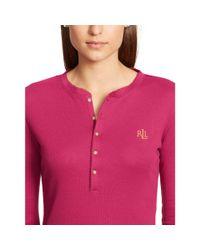 Ralph Lauren - Pink Henley Pajama Set - Lyst