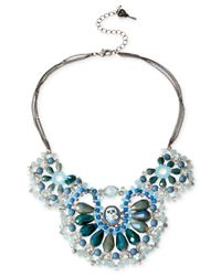 Betsey Johnson | Blue Silver-Tone Skull And Bead Scalloped Frontal Necklace | Lyst
