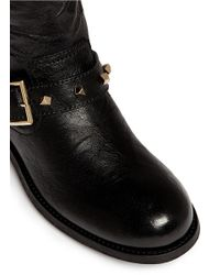 Jimmy Choo - Black 'youth' Cube Stud Leather Biker Ankle Boots - Lyst