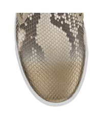 Jimmy Choo - Multicolor Demi Natural And Gold Metallic Dégradé Python Slip On Trainers - Lyst