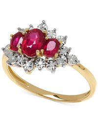 Macy's | Red Ruby (1-1/5 Ct. T.w.) And Diamond Accent Ring In 10k Gold | Lyst