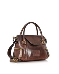 The Bridge Brown Icons Gaucho Small Leather Satchel W/shoulder Strap
