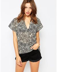 Ganni | Gray Short Sleeeve Floral Shirt | Lyst