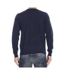 Armani Jeans - Blue Sweater V Neck Basic With Logo for Men - Lyst