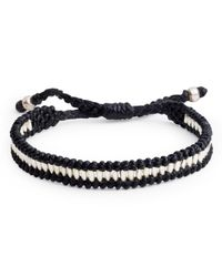 Jan Leslie - Black Wax Cord With Silver Beads Bracelet for Men - Lyst