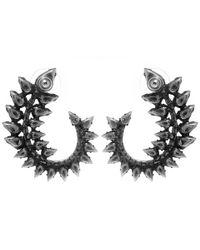 DANNIJO - Metallic Oxidised Silver Arabella Swarovski Crystal Earrings - Lyst