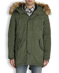 True Religion Army Green Hooded Parka for men