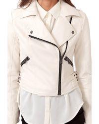 Forever 21 White Futuristic Moto Jacket