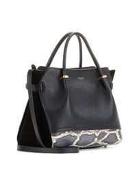 Nina Ricci Black Marché Small Leather Tote With Snakeskin