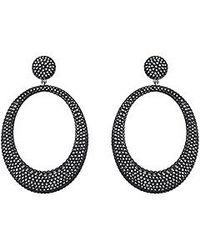 Swarovski Black Stone Large Pierced Earrings