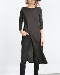 Zara | Gray Long Top With Vent | Lyst
