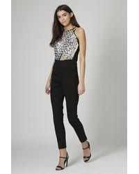 TOPSHOP Black Jewel Embellished Jumpsuit By Opulence