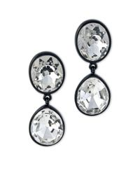 Kenneth Jay Lane | Metallic Black Plated Crystal Headlight Clip Earring | Lyst