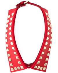 Valentino | Red 'Rockstud' Collar Necklace | Lyst