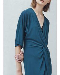 Mango - Blue Ruched Detail Dress - Lyst