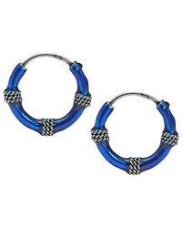 Aeravida | Colored Blue Enamel Balinese Hoop .925 Sterling Silver Earrings | Lyst