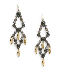 Alexis Bittar Metallic Elements Glass, Pyrite Doublet & Swarovski Crystal Tiered Chandelier Earrings