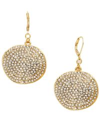 INC International Concepts | Metallic Gold-tone Pave Glass Disc Earrings | Lyst