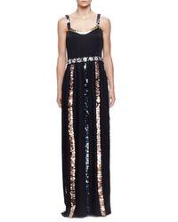 Lanvin - Black Sequin-striped Crepe Gown - Lyst
