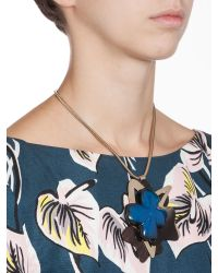 Marni - Blue Embellished Silktwill Necklace - Lyst