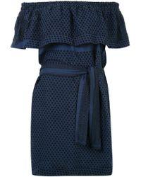 Cecilie Copenhagen Blue Flounce Off-shoulder Dress