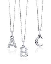 KC Designs 14k White Gold Diamond Initial Pendant Necklace