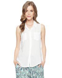 Splendid - White Sleeveless Shirting Top - Lyst