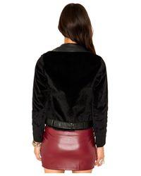Missguided - Black Lenor Faux Pony Skin Biker Jacket - Lyst