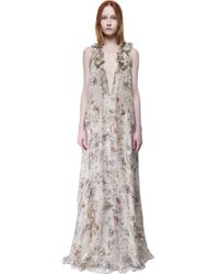 Chloé - White Long Dress With Print - Lyst