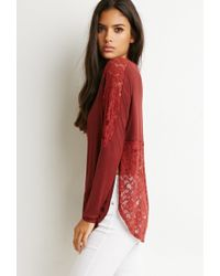 Forever 21 | Brown Lace Slub Knit Top | Lyst