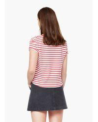 Mango - Red Striped Cotton T-shirt - Lyst