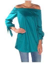 Tibi Kanji Green Satin Poplin Off-The-Shoulder Tunic