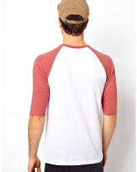 ASOS White 3/4 Sleeve T-shirt With Contrast Raglan Sleeves for men