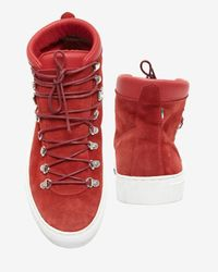 Diemme - Hi Top Lace Up Suede Sneaker Boot: Red - Lyst