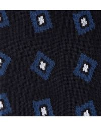 Bresciani Blue Abstract Square-Patterned Cotton Socks for men