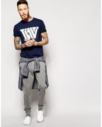 WOOD WOOD Blue T-Shirt With Ww Print for men
