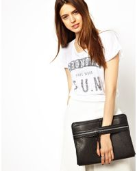 ASOS - Black Casual Clutch Bag with Front Strap and Chunky Zips - Lyst