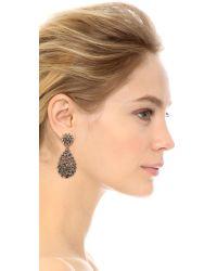 Oscar de la Renta - Black Classic Crystal Teardrop Clip Earrings - Lyst