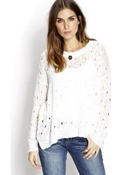Forever 21 | White Boho Doll Open-knit Sweater You've Been Added To The Waitlist | Lyst