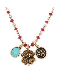 Lucky Brand | Metallic Goldtone Red Bead Clover Charm Necklace | Lyst