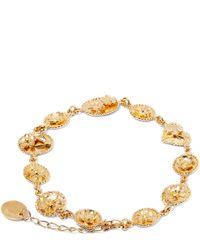 Alex Monroe - Yellow Gold Small Linked Wildflower Cameo Bracelet - Lyst