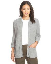 Eileen Fisher Gray Zip Front Rib Organic Cotton & Cashmere Cardigan