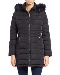 Calvin Klein | Black Faux Fur-trimmed Puffer Coat | Lyst